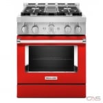 KitchenAid KFGC500JPA Range, Gas Range, 30 Exterior Width, Self Clean, Convection, 4 Burners, Sealed Burners (Gas), 4.1 cu. ft. Capacity, 1 Ovens, Free Standing, Wifi Enabled, 20K BTU, Passion Red colour