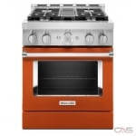 KitchenAid KFGC500JSC Range, Gas Range, 30 Exterior Width, Self Clean, Convection, 4 Burners, Sealed Burners (Gas), 4.1 cu. ft. Capacity, 1 Ovens, Free Standing, Wifi Enabled, 20K BTU, Scorched Orange colour