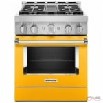 KitchenAid KFGC500JYP Range, Gas Range, 30 Exterior Width, Self Clean, Convection, 4 Burners, Sealed Burners (Gas), 4.1 cu. ft. Capacity, 1 Ovens, Free Standing, Wifi Enabled, 20K BTU, Yellow Pepper colour