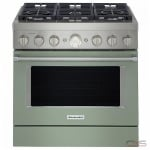 KitchenAid KFGC506JAV Range, Gas Range, 36 Exterior Width, Self Clean, Convection, 6 Burners, Sealed Burners (Gas), 5.1 cu. ft. Capacity, 1 Ovens, Free Standing, Wifi Enabled, 20K BTU, Avocado Cream colour