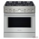 KitchenAid KFGC506JMH Range, Gas Range, 36 Exterior Width, Self Clean, Convection, 6 Burners, Sealed Burners (Gas), 5.1 cu. ft. Capacity, 1 Ovens, Free Standing, Wifi Enabled, 20K BTU, Milk Shake colour