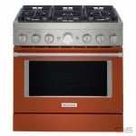 KitchenAid KFGC506JPA Range, Gas Range, 36 Exterior Width, Self Clean, Convection, 6 Burners, Sealed Burners (Gas), 5.1 cu. ft. Capacity, 1 Ovens, Free Standing, Wifi Enabled, 20K BTU, Passion Red colour