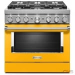 KitchenAid KFGC506JYP Range, Gas Range, 36 Exterior Width, Self Clean, Convection, 6 Burners, Sealed Burners (Gas), 5.1 cu. ft. Capacity, 1 Ovens, Free Standing, Wifi Enabled, 20K BTU, Yellow Pepper colour