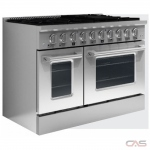 Kucht KNG481 Range, Gas Range, 48 Exterior Width, Convection, 8 Burners, Sealed Burners (Gas), 6.7 cu. ft. Capacity, 2 Ovens, Free Standing, 20K BTU, Stainless Steel colour
