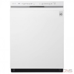 LG LDF5545WW Built-In Undercounter Dishwasher, 24 Exterior Width, 9 Wash Cycles, Stainless Steel (Interior), 2 Loading Racks, Full Console, 15 Capacity (Place Settings), Hard Food Disposal, 48 dB Decibel Level, Wifi Enabled, White colour