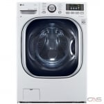"LG WM3997HWA Washer Dryer Combination, 27"" Width, 5.0 cu. ft. Capacity, 14 Wash Cycles, 5 Temperature Settings, 1300 RPM Washer Spin Speed, Steam Clean, White colour"