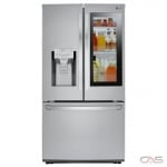 LG LFXC22596S French Door Refrigerator, 36 Width, Freezer Located Ice Dispenser, 22.0 Capacity, Counter Depth, Exterior Water Dispenser, LED Lighting, Fingerprint Resistant, Stainless Steel colour