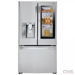 LG LFXS30796S, 36 Width, Thru Door Ice Dispenser, Energy Efficient, 30 Cu. Ft., Exterior Water Dispenser, LED Lighting