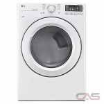 LG DLE3180W, 27'' Width, Electric Dryer, 7.4 Cu. Ft. Capacity, 4 Temperature Settings, Stackable, Steel Drum