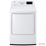 "LG DLE7100W Dryer, 27"" Width, Electric Dryer, 7.3 cu. ft. Capacity, 8 Dry Cycles, 3 Temperature Settings, Steel Drum, White colour"
