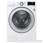 "LG WM3500CW Front Load Washer, 27"" Width, 5.2 cu. ft. Capacity, 10 Wash Cycles, 3 Temperature Settings, Stackable, Water Heater, 1300 RPM Washer Spin Speed, Wifi Enabled, ENERGY STAR Certified, White colour"