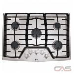 LG LCG3011ST Cooktop, Gas Cooktop, 30 inch, 5 Burners, Stainless Steel colour