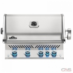 "Napoleon Grills Prestige Pro BIPRO500RBPSS-3 BBQ Grill, 32 1/2"" Width, Built- In, Liquid Propane, 4 Burners, 760 sq. in. Cooking Area, Stainless Steel Grate Construction, Rotisserie, Smoking Tray, 66K BTU, Stainless Steel colour"