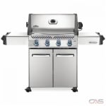 "Napoleon Grills Prestige P500PSS-3 BBQ Grill, 66 1/4"" Width, Freestanding, Liquid Propane, 4 Burners, 760 sq. in. Cooking Area, Stainless Steel Grate Construction, Smoking Tray, 48K BTU, Stainless Steel colour"