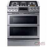 Samsung Chef Collection NY58J9850WS Range, Dual Fuel Range, 30 Exterior Width, Self Clean, Convection, 5 Burners, Sealed Burners (Gas), Warming Drawer, 5.8 cu. ft. Capacity, 1 Ovens, Slide In, 22000 BTU Highest Burner, Stainless Steel colour