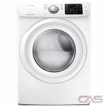 Samsung DV42H5000EW, 27 Width, Electric Dryer, 7.5 Capacity, 11 Dry Cycles, 4 Temperature Settings, Stackable, Porcelain Drum, White colour