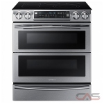 Samsung NE58K9850WS Range, Electric Range, 30 Exterior Width, Self Clean, Convection, 4 Burners, Glass Burners (Electric), Warming Drawer, 5.8 cu. ft. Capacity, 2 Ovens, Slide In, Wifi Enabled, 3000W, Stainless Steel colour