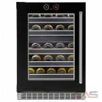Silhouette SRVWC050L Wine Cooler, 23 7/8 Width, Free Standing & Built In, Energy Efficient, 37 Wine Bottle Capacity, Black colour