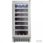 "Silhouette DWC031D1BSSPR Wine Cooler, 15"" Width, 28 Wine Bottle Capacity, Stainless Steel colour"