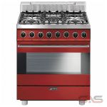 Smeg C30GGRU Range, Gas Range, 30 Exterior Width, Convection, 5 Burners, Sealed Burners (Gas), 3.55 cu. ft. Capacity, 1 Ovens, Free Standing, 17K BTU, Red colour
