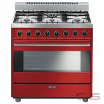 Smeg C36GGRU Range, Gas Range, 36 Exterior Width, Convection, 6 Burners, Sealed Burners (Gas), 4.4 cu. ft. Capacity, 1 Ovens, Free Standing, 15K BTU, Red colour