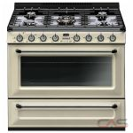 Smeg TRU36GGP, Gas Range, 36 Exterior Width, Convection, 5 Burners, Sealed Burners (Gas), Storage Drawer, 4.4 Capacity, 1 Ovens, Free Standing, 12K, Cream Enamel colour