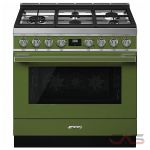 Smeg CPF36UGGOG Range, Gas Range, 36 Exterior Width, Convection, 5 Burners, Sealed Burners (Gas), Storage Drawer, 4.5 Capacity, 1 Ovens, Free Standing, 20K, Olive Green colour
