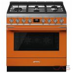 Smeg CPF36UGGOR, Gas Range, 36 Exterior Width, Convection, 5 Burners, Sealed Burners (Gas), Storage Drawer, 4.5 Capacity, 1 Ovens, Free Standing, 20K, Orange colour