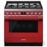 Smeg CPF36UGGR Range, Gas Range, 36 Exterior Width, Convection, 5 Burners, Sealed Burners (Gas), Storage Drawer, 4.5 cu. ft. Capacity, 1 Ovens, Free Standing, 20K BTU, Red colour