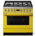 Smeg CPF36UGGYW, Gas Range, 36 Exterior Width, Convection, 5 Burners, Sealed Burners (Gas), Storage Drawer, 4.5 Capacity, 1 Ovens, Free Standing, 20K, Yellow colour