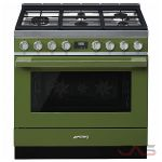 Smeg CPF36UGMOG, Dual Fuel Range, 36 Exterior Width, Convection, 5 Burners, Sealed Burners (Gas), Storage Drawer, 4.5 Capacity, 1 Ovens, Free Standing, 18K, Green colour