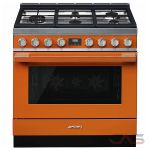 Smeg CPF36UGMOR, Dual Fuel Range, 36 Exterior Width, Convection, 5 Burners, Sealed Burners (Gas), Storage Drawer, 4.5 Capacity, 1 Ovens, Free Standing, 18K, Orange colour