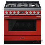 Smeg CPF36UGMR Range, Dual Fuel Range, 36 Exterior Width, Convection, 5 Burners, Sealed Burners (Gas), Storage Drawer, 4.5 cu. ft. Capacity, 1 Ovens, Free Standing, 18K BTU, Red colour