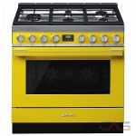 Smeg CPF36UGMYW, Dual Fuel Range, 36 Exterior Width, Convection, 5 Burners, Sealed Burners (Gas), Storage Drawer, 4.5 Capacity, 1 Ovens, Free Standing, 18K, Yellow colour