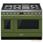 Smeg CPF48UGMOG, Dual Fuel Range, 48 Exterior Width, Convection, 5 Burners, Sealed Burners (Gas), Storage Drawer, 5.9 Capacity, 2 Ovens, Free Standing, 20K, Olive Green colour
