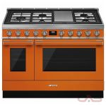 Smeg CPF48UGMOR, Dual Fuel Range, 48 Exterior Width, Convection, 5 Burners, Sealed Burners (Gas), Storage Drawer, 5.9 Capacity, 2 Ovens, Free Standing, 20K, Orange colour