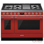 Smeg CPF48UGMR Range, Dual Fuel Range, 48 Exterior Width, Convection, 5 Burners, Sealed Burners (Gas), Storage Drawer, 5.9 cu. ft. Capacity, 2 Ovens, Free Standing, 20K BTU, Red colour