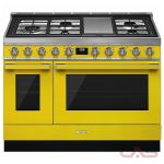 Smeg CPF48UGMYW, Dual Fuel Range, 48 Exterior Width, Convection, 5 Burners, Sealed Burners (Gas), Storage Drawer, 5.9 Capacity, 2 Ovens, Free Standing, 20K, Yellow colour