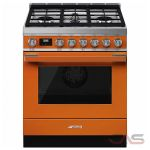Smeg CPF30UGMOR, Dual Fuel Range, 30 Exterior Width, Convection, 4 Burners, Sealed Burners (Gas), Storage Drawer, 3.6 Capacity, 1 Ovens, Free Standing, 20K, Orange colour