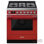 Smeg CPF30UGMR Range, Dual Fuel Range, 30 Exterior Width, Convection, 4 Burners, Sealed Burners (Gas), Storage Drawer, 3.6 cu. ft. Capacity, 1 Ovens, Free Standing, 20K BTU, Red colour