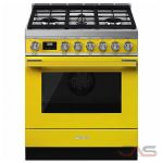 Smeg CPF30UGMYW, Dual Fuel Range, 30 Exterior Width, Convection, 4 Burners, Sealed Burners (Gas), Storage Drawer, 3.6 Capacity, 1 Ovens, Free Standing, 20K, Yellow colour