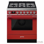 Smeg CPF30UGGR Range, Gas Range, 30 Exterior Width, Convection, 4 Burners, Sealed Burners (Gas), Storage Drawer, 3.6 cu. ft. Capacity, 1 Ovens, Free Standing, 20K BTU, Red colour