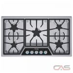 Thermador Masterpiece Series SGSX365FS Cooktop, Gas Cooktop, 36 inch, 5 Burners, Stainless Steel colour