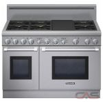 Thermador Professional Series PRD486GDHC Range, Dual Fuel Range, 48 inch, Self Clean, Convection, 6 Burners, Sealed Burners (Gas), 6.6 cubic ft, Free Standing, Stainless Steel colour