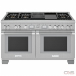 Thermador PRD606WCG Range, Dual Fuel Range, 60 Exterior Width, Self Clean, Convection, 8 Burners, Sealed Burners (Gas), 10.6 cu. ft. Capacity, 2 Ovens, Free Standing, Wifi Enabled, 22K BTU, Stainless Steel colour