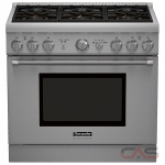 Thermador Professional Series PRG366GH, Gas Range, 36 Exterior Width, Convection, 6 Burners, Sealed Burners (Gas), 5.0 Capacity, 1 Ovens, Free Standing, 18K, Stainless Steel colour