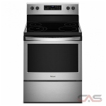 Whirlpool YWFE510S0HS Range, Electric Range, 30 Exterior Width, Self Clean, 4 Burners, Glass Burners (Electric), Storage Drawer, 5.3 Capacity, 1 Ovens, Free Standing, 3000W