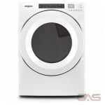 Whirlpool WGD560LHW, 27 Width, Gas Dryer, 7.4 Capacity, 36 Dry Cycles, 4 Temperature Settings, Stackable, Steel Drum, White colour Long Vent