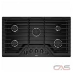 Whirlpool WCG55US6HB Cooktop, Gas Cooktop, 36 inch, 5 Burners, 15K BTU, Black colour