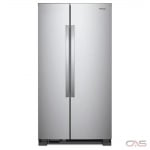 Whirlpool WRS312SNHM Side by Side Refrigerator, 33'' Width, Optional Ice Maker (Special Order), 21.7 cubic ft, LED Lighting